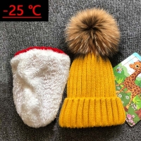 2020 Children Real Raccoon Fur Ball hats Plus velvet Winter Hat Cap For Kids Boy Girl Warm Fur Pom Poms Ski Hat Fur Pompoms Hat