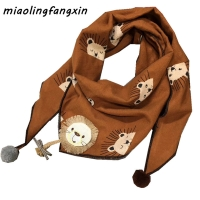 Autumn Winter Children Scarf New Fashion Girls Lion Triangle Scarf Toddler Boys Neck Wear Baby Scarf