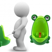 Cute Frog Shape Children Boys Potty Pee Toilet Training Urinal with Suction Cups Frog Stand Vertical Penico Pee Wall-Mounted
