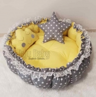 Jaju Baby Gray and Yellow Retractable Play Mat Baby Nest