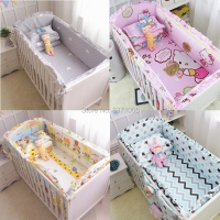 6Pcs Cartoon Baby Crib Bumpers Baby Bedding Sets Padded Baby Crib Rail Cot Bed Sheets 100%Cotton  Customizable Baby Beddings set