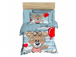 Digital Printed 3d Baby Duvet cover set Bear Water Green
