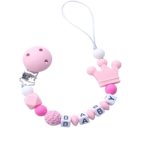 1pcs Pink Silicone Personalised Name Baby Pacifier Clips Crochet Beads Silicone Crown Pacifier Chain Holder Baby Shower Gift