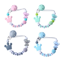 Personalised Name Baby Pacifier Clip Chain Cute Cartoon Bear Letters Toys Teether Pacifier Chain Holder Baby Nipple Feeding