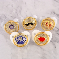 Luxury Bling Bling Rhinestone Baby Pacifier Newborn Infant Baby Silicone Orthodontic Pacifier Nipple Sleep Soother Drop Shipping