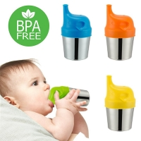 Baby Feeding Cups Fashion Baby Drinkware Stainless Steel Sippy Cups For Toddlers & Kids With Silicone Sippy Cup Lids Solid