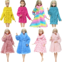 One Pcs Colourful Wool Mix Doll Coat High Quality Clothes Fashion Dress Handmade Colorful Sweater Winter Outfit for Barbie Doll