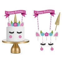 Happy Birthday Wooden Cake Flags Handmade Pink Unicorn Baking Decoration Children Party Cupcake Baby Decor Girl Kaleidoscope