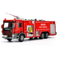 Toys Water Fire Engine Truck Alloy Diecast 1:50 Model Top Water Cannon Rotatable 360 Degree Rotate Fire Rescue Children Toys