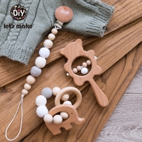 Let'S Make 1Set Baby Toys Wooden Rattle Infant Babyplay Baby Rattle Personalized Pacifier Chain Rattles For 0-12Months Baby Kids