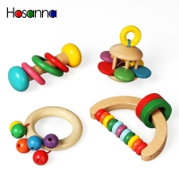 Wooden Baby Rattles Grasp Play Game Teething Infant Early Musical Educational Toys for Children Newborn 0-12 months Gift
