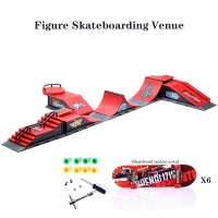 6 In 1 Mini Finger Park Figure Skate Scene Board Venue Combination Toys Skateboarders Ramp Track Toy Set For Boy Birthday Gifts