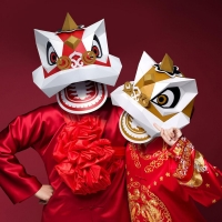 3D Paper Mask Fashion Lion Dance  Animal Costume Cosplay DIY Paper Craft Model Mask Christmas Halloween Prom Party Gift