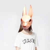 3D Paper Mask Fashion Bunny  Rabbit Animal Costume Cosplay DIY Paper Craft Model Mask Christmas Halloween Prom Party Gift