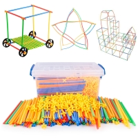DIY handmade jigsaw toy colorful 4D straws inserted blocks kindergarten Montessori imagination teaching aids educational toys