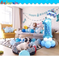 Baby Birthday Present Decoration Party Hat Cartoon Birthday Children Balloon Layout Inflatable Column 32-inch Digital