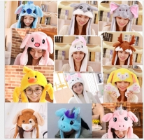 Various styles Cute Rabbit Hat with light Funny Air Float Filling Ear Moving Cap Cartoon Plush Stuffed Toys Gifts for children