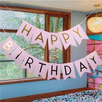 Happy Birthday Banner Garland Hanging Gold Pastel Pink Gold Letters Photo Props Bunting Garland Wedding Decoration Party Tool
