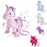 Funny 35cm Electric Walking Unicorn Plush Toy Stuffed Animal Toy Electronic Music Unicorn Toys for Children Christmas Gifts