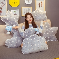 Luminous Material Plush Sky Pillows Sleeping Glowing Cloud Star Moon Cushion Room Cot Decor Nature Pillow Soft Appease Baby Toys
