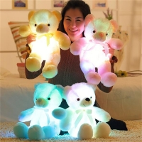 Creative Light Up LED Teddy Bear Stuffed Animals Plush Toy Colorful Glowing Teddy Bear plush toys Christmas Gift for Kids