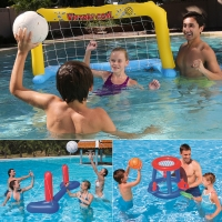 Summer Sports Inflatable Pool Float Set Water Toys Swimming Games For Kids Basketball Handball Volleyball Water Jump Wabble Ball
