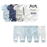 2020 Baby clothes Summer Newborn Jumpsuit short sleeve 5Pcs Baby rompers +4 Pants 100% Cotton Unisex Boy Girls Clothing set