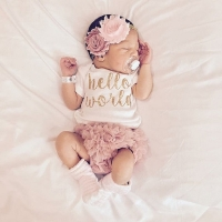 EAZII Hello World Print Newborn Infant Baby Girl Romper Jumpsuit With Underwear Short Sleeve Sunsuit Summer Clothes Outfit 0-24M