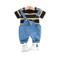 Summer Baby Girls Boys Clothing Toddler Casual Fashion Infant Clothes Suits T Shirt Strap Shorts 2Pcs/Sets Kids Children Costume