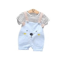 Summer Fashion Baby Girls Clothing Sets Infant Clothes Suits Stripe T Shirt Strap Shorts Kids Sportswear Children Casual Wear