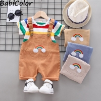 BibiCola Summer Baby Boys Clothes Set Cartoon Toddler Baby Infant Girls Outfits T-shirt+Bib Pants Kids Clothing Sets Tracksuit