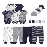 2020 Solid Unisex New Born Baby Boy Clothes Bodysuits+Pants+Hats+Gloves Baby Girl Clothes Cotton Clothing Sets Roupa de bebe
