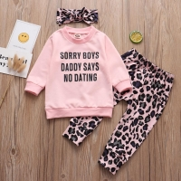 3PCS Infant Baby Girls Clothing Set 0-4T Spring Fall Daddy Says No Dating Tops+Leopard Print Pants+Headband Toddler Girl Outfits
