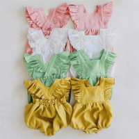 Newborn Baby Girls Rompers Ruffle Linen Cotton Baby Girl Clothes Spring Summer Backcross Jumpsuits Outfits Sunsuit Baby Clothing