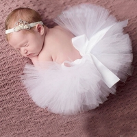 White Newborn Tutu Skirt with Tiara Headband Newborn Photography Prop Stunning Newborn Tutu Photo Prop TS034