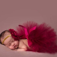 NEW Princess Newborn Tutu and Matching Flower Headband Baby Photography Prop Skirt Birthday Sets For Baby Girls TT004-1