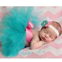 Pink Mint Newborn Tutu and Headband Baby Tutu Skirt Newborn Photography Prop Pettiskirt Infant Costume Outfit TS034