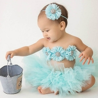 New Princess Baby Tutu Skirt with Matching Flower Headband and Bra Top Little Girl Tutus Photo Props Costume Outfit TS067