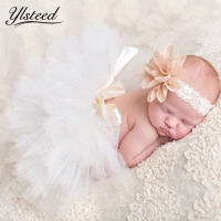 Newborn tutu skirt baby photography costumes baby girl flower headband tutu skirt set  infant mesh ball gown newborn photo props