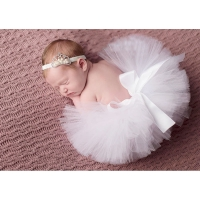 2020 NEW Baby Tutu Newborn Photo Props Sweet Pink Little Girl Tutu Skirt with Crochet Headband Birthday Tutu TS012