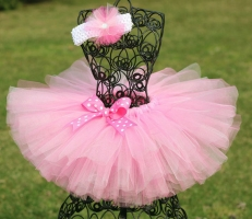 Cute Girls Pink Tutu Skirts Baby Handmade Tulle Pettiskirt with Polka Dots Headband Kids Ballet Dance Tutus Clothes Party Tutus