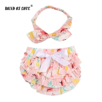 Baby bloomers and Headband Flamingo pattern Bow 100% cotton bloomers ruffle clothes diaper cover baby boy girls shorts