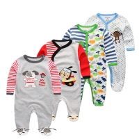 4 PCS/lot cartoon long sleevele baby sleeper 100%Cotton Baby Pajamas cartoon baby Sleeper newborn sleeping baby clothes sets