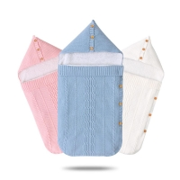 Baby Sleeping Bags Stroller Autumn Knitted Envelopes For Newborns Infantil Bedding Swaddle Wrap Sleep Sacks Blankets Grey Velvet