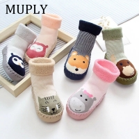 Infant Socks For Baby Warm Booties Sock With Rubber Soles For Newborn Toddler Baby Girl Boy Socks Kids Winter Sock Terry Sliper