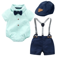 Baby Boy Clothes Romper + Bow + Navy Shorts + Suspenders Belt Sets Infant Clothing Short Outfit
