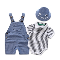 Newborn Baby Clothing Set for Boys Summer Suit Set Hat+Striped Romper+Blue Overall Suit Casual Children Boy Clothes Outfit