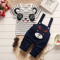 BibiCola boys clothing set baby summer panda cartoon Toddler leisure bib clothes sets for Infant suit Striped shirt braces pants