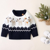 Babies Winter Sweaters For Baby Girl Casual O Neck Long Sleeve Toddler Boy Knitwear Top Christmas Reindeer Knitted Kids Pullover