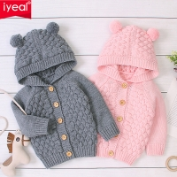 IYEAL Children's Baby Sweater Spring Autumn Girls Cardigan Kids Hooded Cute Ears Sweaters Toddler Fashionable Style Outerwear